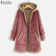2019 Plus Size ZANZEA Winter Zipper Fleece Jackets Women Vintage Solid Hooded Lo