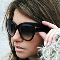 tom ford TF sunglasses women 2019 transparent leopard oversized cat eye summer shades oculos de sol feminino