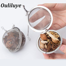 2Pcs Stainless Steel Tea Infuser Strainer Mesh Ball Tea Strainer Filter with Chain Herbal Spice Mesh Ball Filter Kitchen Gadgets