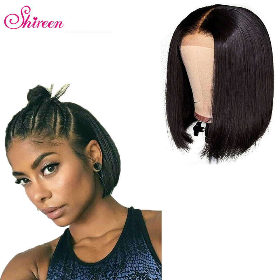 Shireen Brazilian Straight Hair 4x4 Short Bob Wigs Lace Closure Wig Pre Plucked Hairline Baby Hair Remy Human Hair Wigs 150%