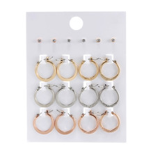 12Pairs/Set Trendy 2019 Mix Gold Silver Rose Gold Color Crystal Rhinestone Stud Earring Set Women Circle Round Stud Earring Sets stylish rhinestone skull stud earring