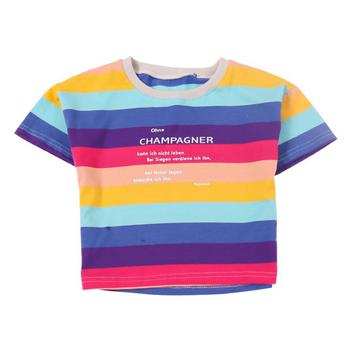 Tęczowe paski dziewczęce t-shirty dla chłopców odzież topy 2020 letnie koszulki dziecięce moda dziecięca t-shirty topy gorąca sprzedaż tanie i dobre opinie ALIJUTOU COTTON CN (pochodzenie) Aktywny W paski REGULAR O-neck Tees Połowa Pasuje prawda na wymiar weź swój normalny rozmiar