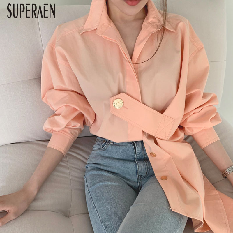 SuperAen Korean Style Women Shirts New 2019 Autumn Cotton Casual Wild Ladies Blouses And Tops Lapel Solid Color Women Clothing