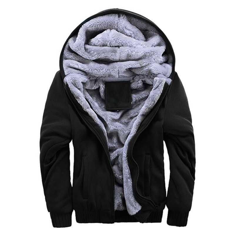 2019 Casual Hoodies Sweateshirts Men Velvet Zipper Warm Fashion Loose Parkas Streetwear Thick Solid Hoodie Men