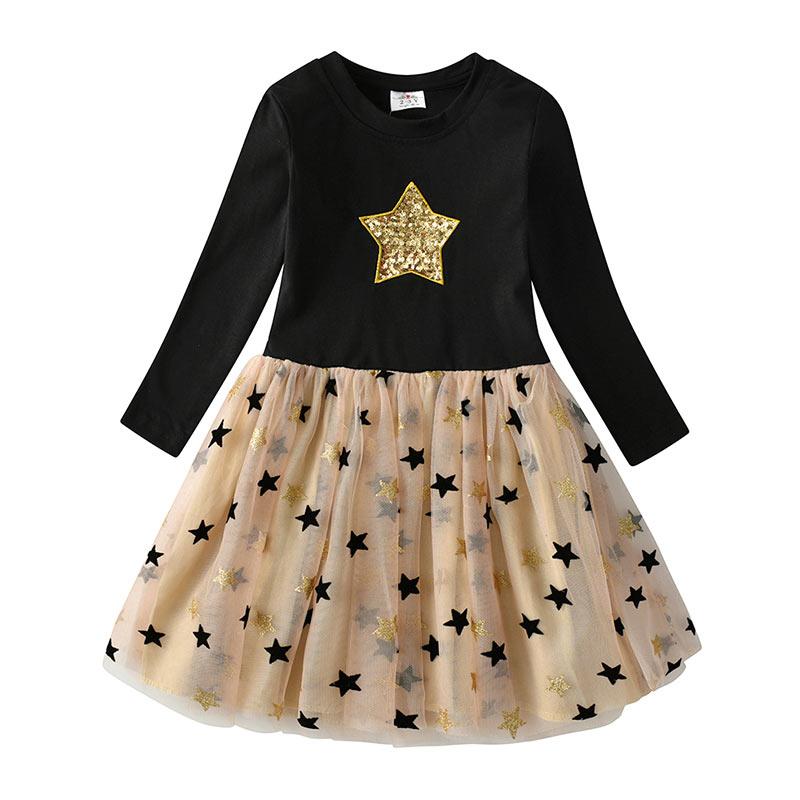 VIKITA Kids Long Sleeve Dresses for Girls Party Dress Star Printed Birthday Tutu Dresses Children Casual Wear Princess Vestidos 23