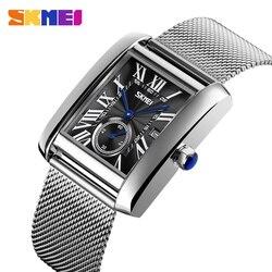 SKMEI męskie zegarki Top marka luksusowe biznes kwarcowy zegarek mężczyźni 3Bar wodoodporna stal nierdzewna Watch Band relogio masculino 9191 w Zegarki kwarcowe od Zegarki na
