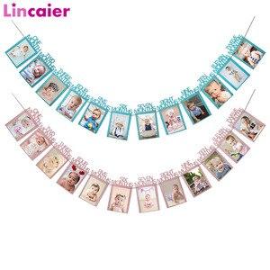 Image 1 - Lincaier ilk doğum günü 12 ay fotoğraf çerçevesi afiş 1st bebek erkek kız süslemeleri benim 1 bir yıl parti malzemeleri