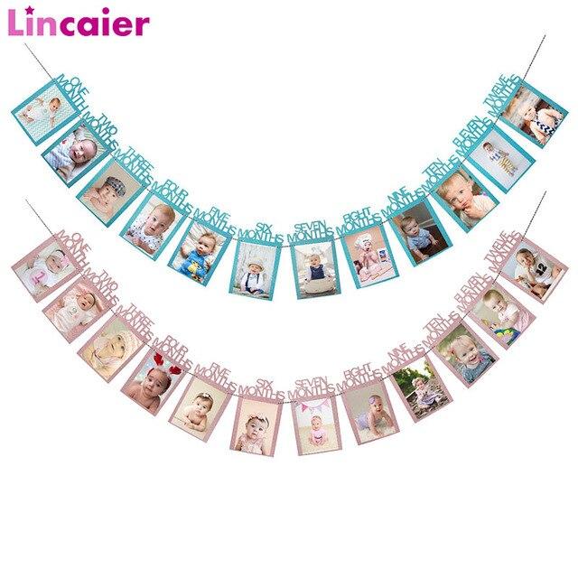 Lincaier ilk doğum günü 12 ay fotoğraf çerçevesi afiş 1st bebek erkek kız süslemeleri benim 1 bir yıl parti malzemeleri