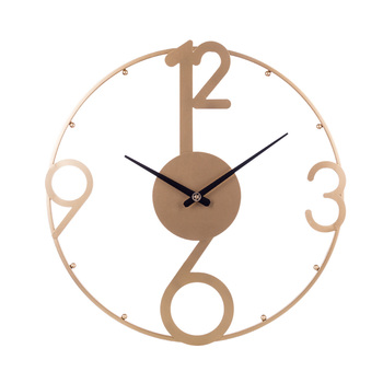 50cm 20 Inches Nordic Simple Wrought Iron Clock Mute Wall Clock Modern Design Decor Watch For Home Living Room Decoration-Golden