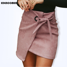 Women Mini Skirts 2019 Autumn New European and American Fashion Sexy Irregular Deer Velvet Skirt Bust Pencil Empire