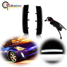 Gtinthebox Smoked Lens White LED Car Vertical Front Bumper Reflector Lights For 2003 2005 Nissan 350Z Daytime Running Lights DRL