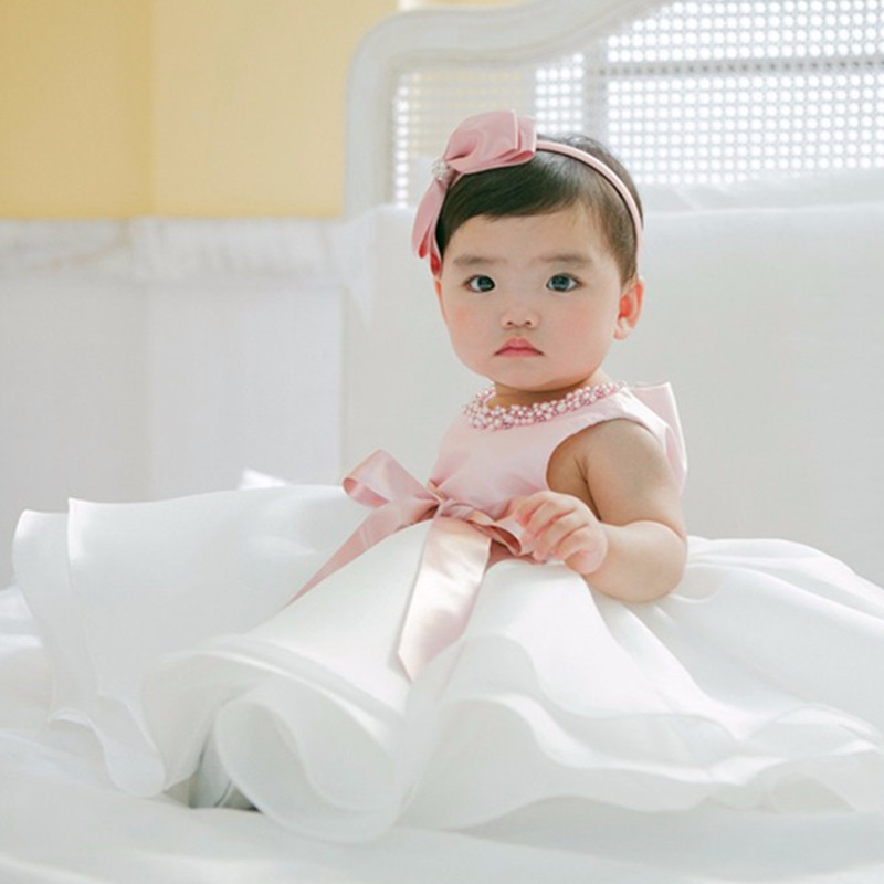 2021 New Cute Pink Baby Flower Christening Gown Baptism Clothes Newborn Kids Girls Birthday Princess Infant Party Dress 12 24M