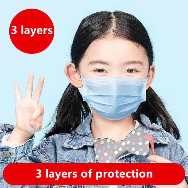50pcs kids mask Anti Virus Disposable Masks 3 Layer pm25 filter Hygiene Mask Prevent flu Face Mask High quality Children masks 2