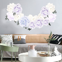 Light color Peony Wall Stickers for Bedroom Living room Eco-friendly Vinyl Wall Decals for Wall Removable Wall Murals Home Decor blue peony wall stickers bedroom living room tv background diy vinyl plants wall decals eco friendly removable diy wall murals