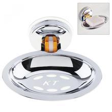 Нержавеющая сталь сильное всасывание Круглый Душ мыльница с хромом мыльница для ванной комнаты