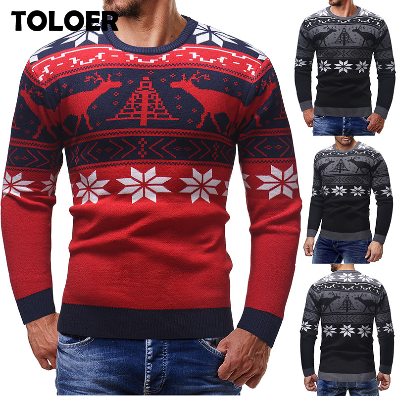 Brand Men Sweater 2020 Christmas Autumn Winter Warm Pullover 3D Knitted Sweater Blouse Tops Mens Jumper Deer Print Sweaters Male