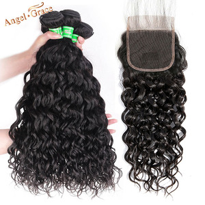 Image 2 - AngelGrace Hair Water Wave Bundles With Closure Remy Human Hair 3 Bundles With Closure Brazilian Hair Weave Bundles With Closure