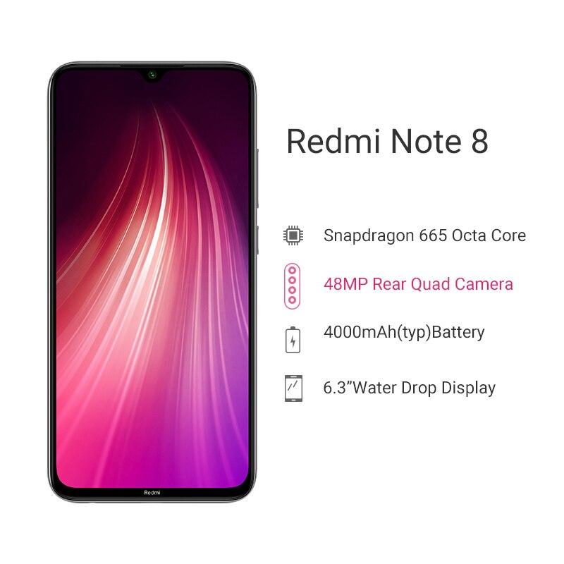 "Global ROM Xiaomi Redmi Note 8 4GB 64GB Smartphone Snapdragon 665 Octa Core 6.3"" Display 48MP Quad Camera 4000mAh Fast Charge"