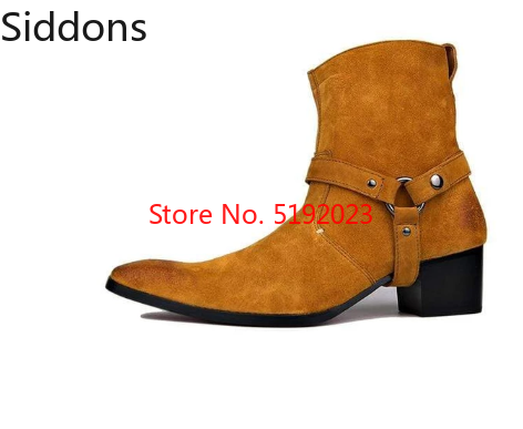 4 Color High Heel Boots For Men Handmade Genuine Suede Leather Boot Classic Shoes  Zapatos De Hombre   Men Winter Shoes D313