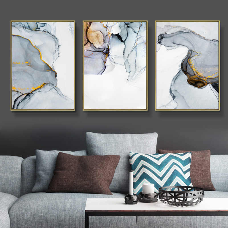 Blue Grey Marble Canvas Art Print Abstract Painting Poster Wall Pictures For Living Room Paintings Pictures Wall Art Poster