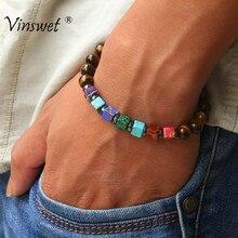 Pulseira onyx preta masculina natural, 8mm, pedra chakra, contas, pulseira para mulheres, reiki, oração, saúde, pulseira, joias