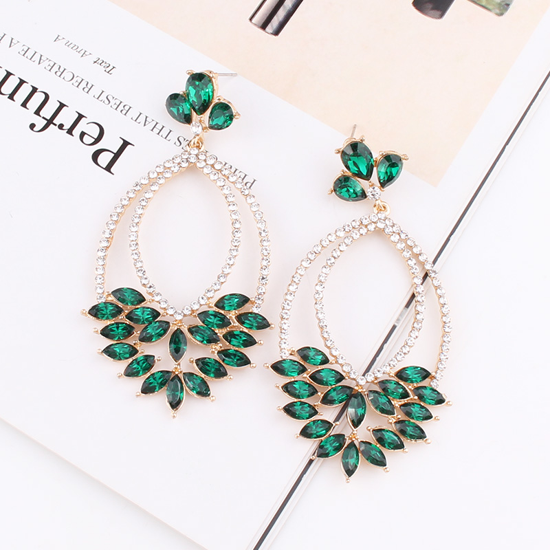 LUBOV 5Colors Geometric Crystal Stone Dangle Earrings Gold Color Metal Frame Earrings For Women Birthday Gift Party Jewelry Set