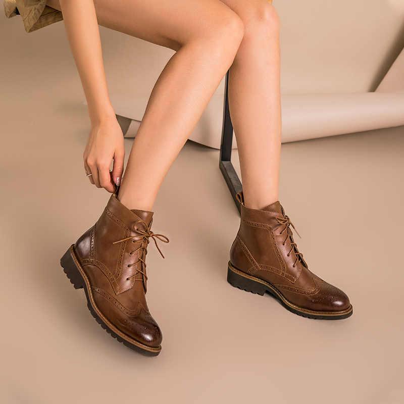 Beautoday Brogue Giày Bốt Nữ Da Thật Chính Hãng Da Da Bò Tẩy Lông Mũi Tròn Buộc Dây Cổ Chân Boot Mùa Thu Đông Giày Nữ Handmade 03263