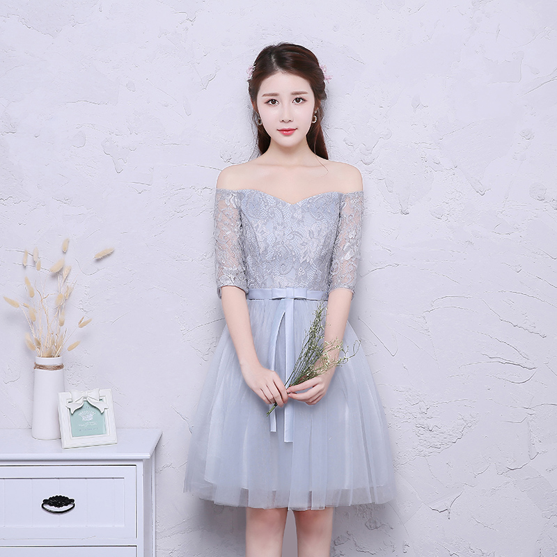 Elegant Wedding Party Dress Plus Size Tulle Junior Bridesmaid Short Vestido Azul Marino Ladies Sexy Prom New Years Eve Dress