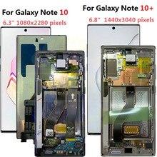 三星銀河 (注) 10液晶N970F N9700フレームディスプレイタッチスクリーンデジタイザとサムスンnote10 + 注10プラス液晶N975
