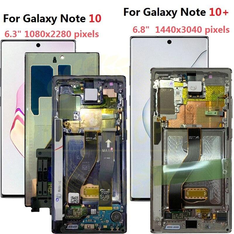 Do Samsung Galaxy Note 10 Lcd N970F N9700 z ramką wyświetlacz ekran dotykowy Digitizer do Samsung note10 + uwaga 10 plus LCD N975