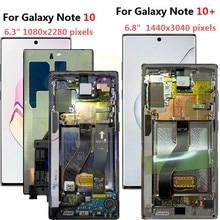 Для Samsung Galaxy Note 10 Lcd N970F N9700 с рамкой дисплей сенсорный экран дигитайзер для Samsung note10 + Note 10 plus LCD N975