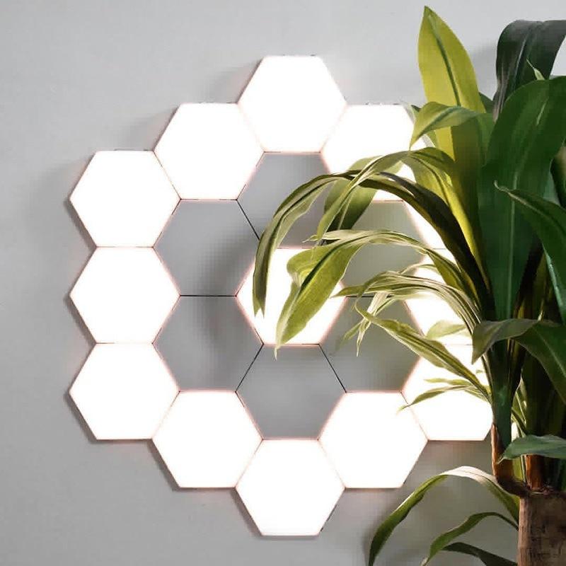 Hot DIY Assembly Honeycomb Night Light Touch-Sensitive Geometric Hexagon Wall Light Quantum Light For Bedroom/Hallway/Bathroom