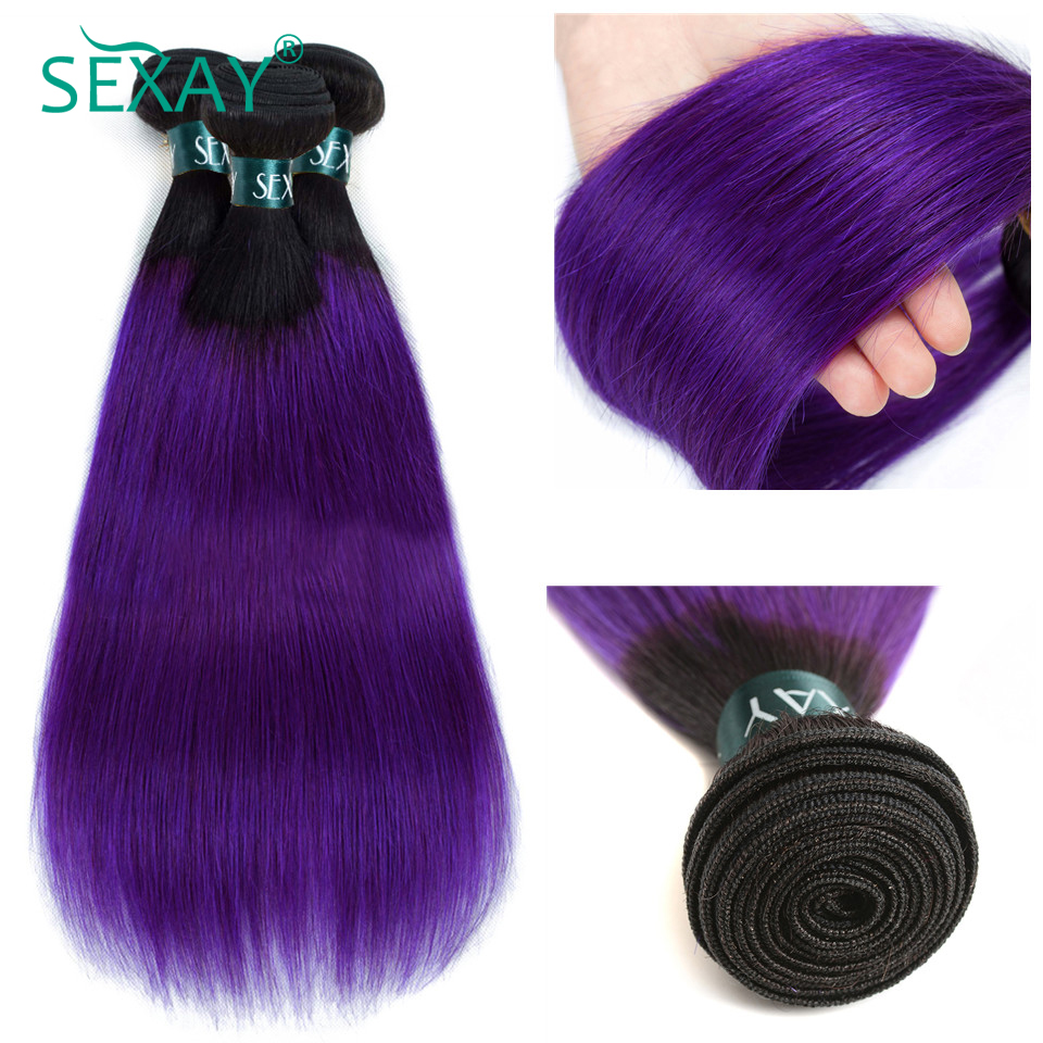 Ombre Brazilian Hair Straight Human Hair Weaves 3/4 Bundles Lot 1B/Purple Dark Roots SEXAY Remy Hair Two Tone Ombre Hair Bundles