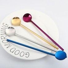 Paille créative réutilisable en acier inoxydable, cuillère à café, pailles à boire solides, Pipette polyvalente, pailles métalliques
