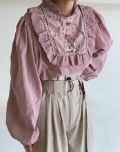Осенняя Женская кружевная рубашка с оборками и воротником стойкой