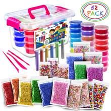 52 pacote/lote fluffy slime kit 24 cores, suprimentos, presentes para crianças, diy, kit sensorial, jogo de alívio do estresse, brinquedo, elástico macio para crianças
