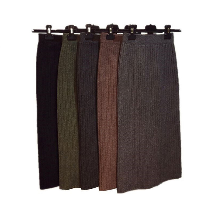 Women Back Slit Bodycon Elegant Knee-length Pencil Skirt Autumn Winter Casual Knitted Skirt High Waist Elasticity Skirt