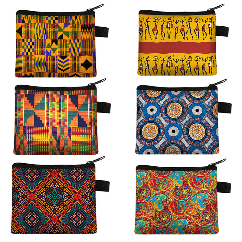 African Pattern Print Women's Coin Purse Ladies Portable Wallet Afro Girls Lipstick Holder Money Coin Bag