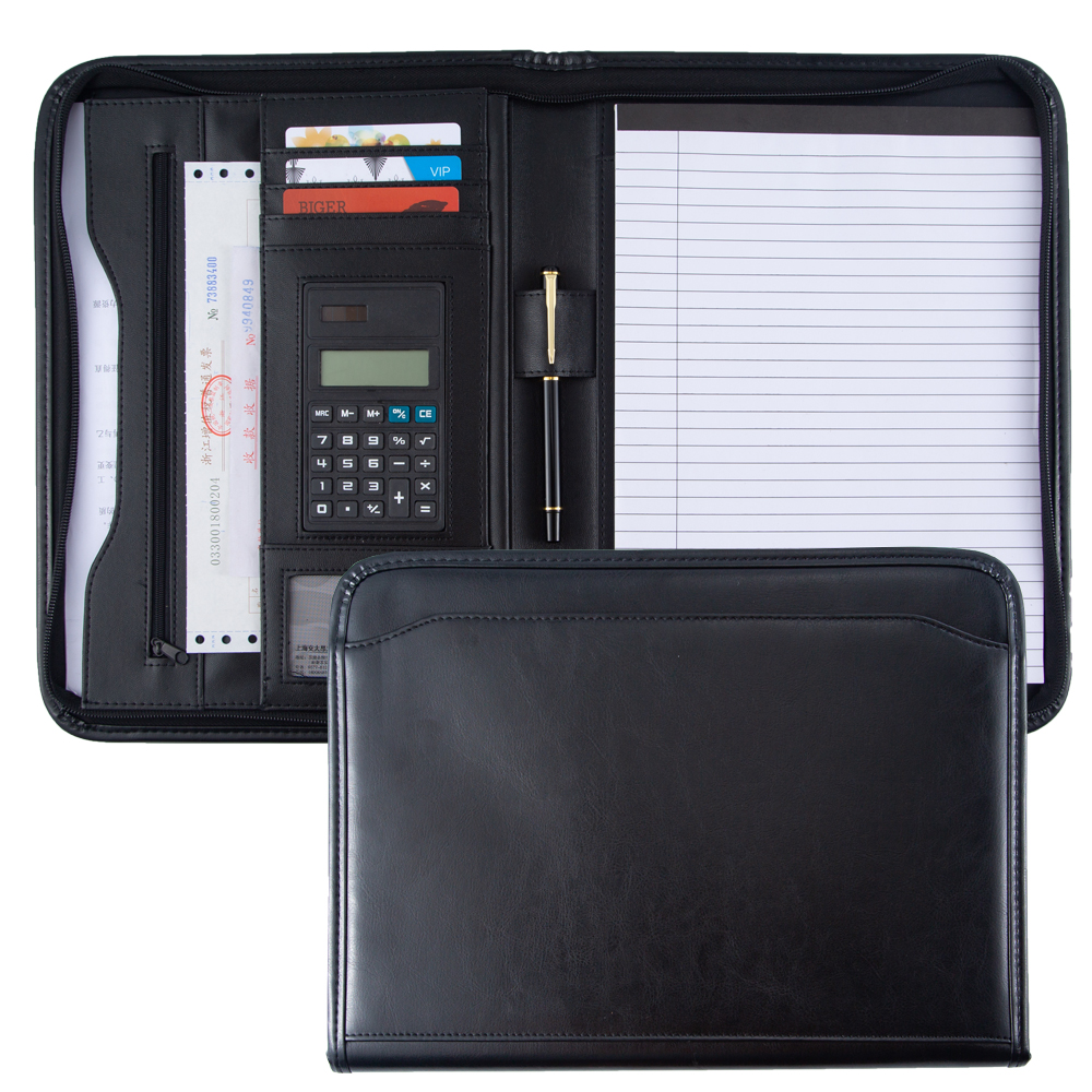A4 Leather Portfolio Folder,Document-File-Folder,Custom Logo Business Cheap PU Leather Briefcase Manager Folder For Documents