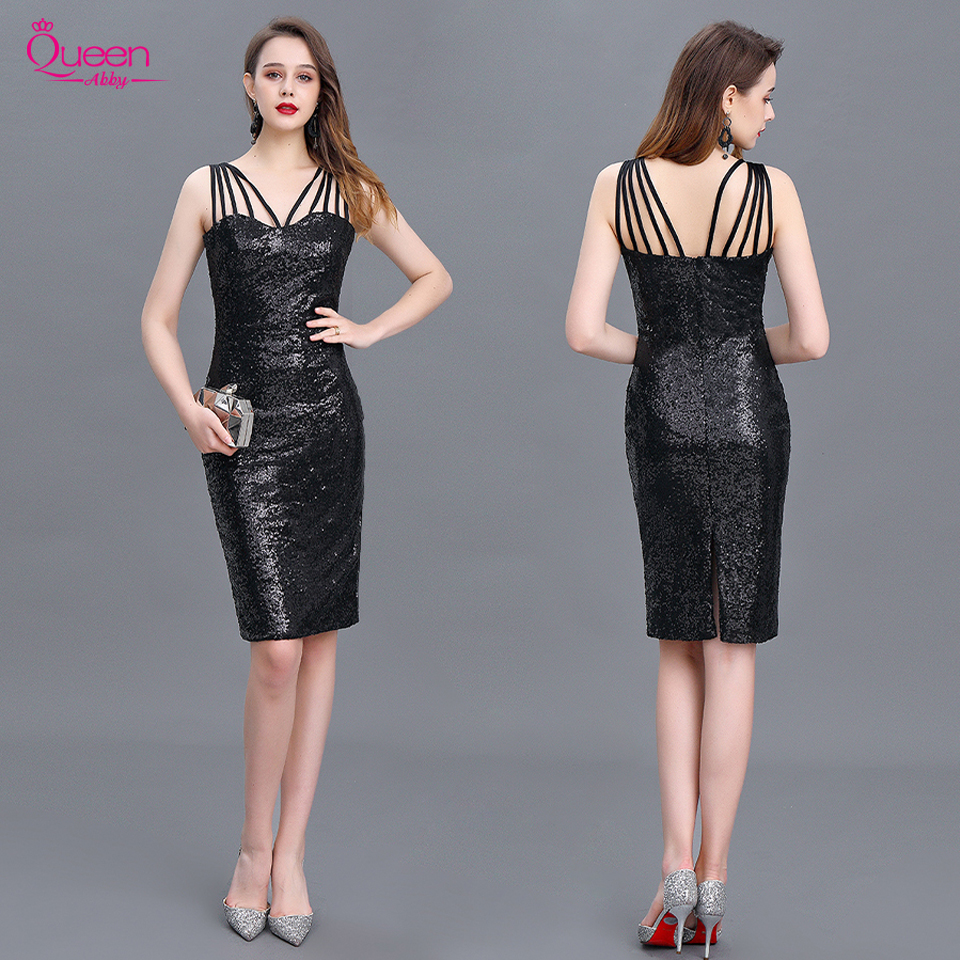 Cocktail Dress 2020 New Mermaid Black Straps Sequin Knee-length Sexy Women Homecoming Dress For Party with Zipper Back