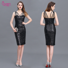 Cocktail Dress 2020 New Mermaid Black Straps Sequin Knee length Sexy Women Homecoming Dress For Party with Zipper Back