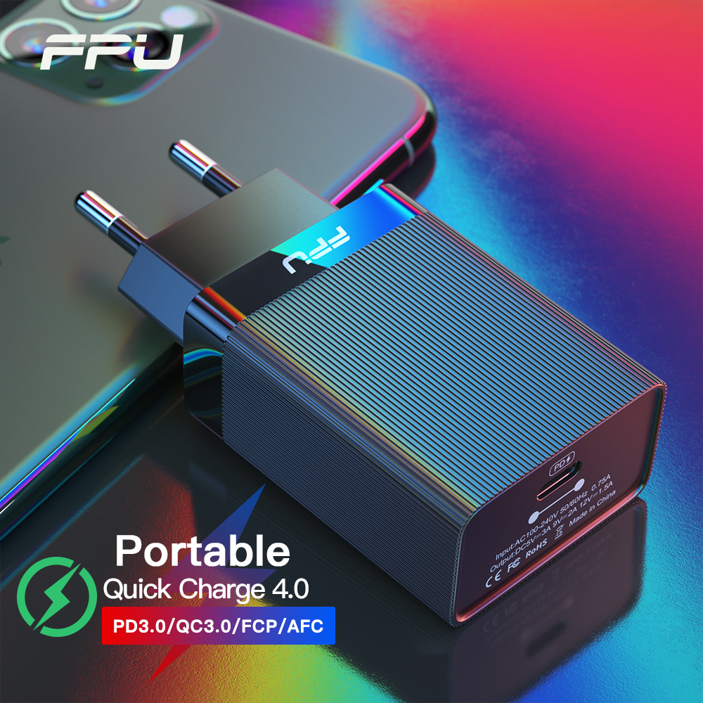 FPU Quick Charge 4.0 QC 3.0 PD <font><b>Charger</b></font> 18W QC4.0 <font><b>QC3.0</b></font> <font><b>USB</b></font> C Fast <font><b>Charger</b></font> QC 4.0 for iPhone 11 Pro Max Portable Phone <font><b>Charger</b></font> image