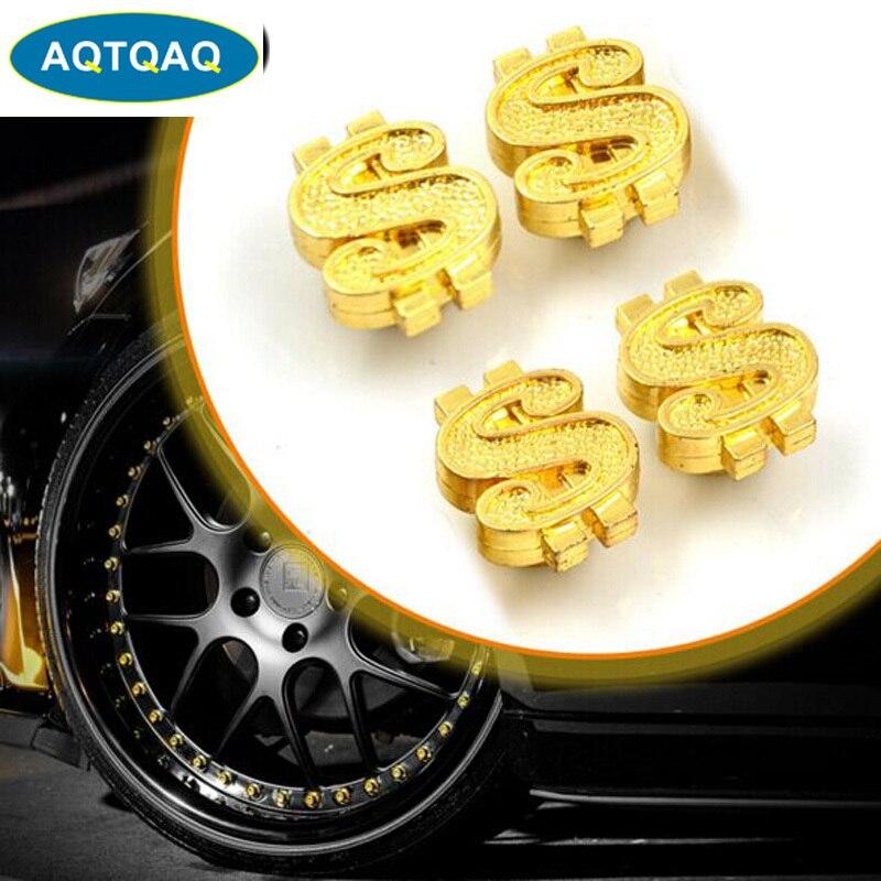 4Pcs/lot Universal Car Moto Bike Dollar Symbol Wheel Tire Valve Stem Caps Dust Cover Car Styling