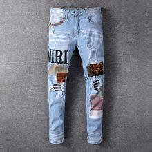 Moda remendo rasgado azul calças de brim masculino fino ajuste designer lavado jeans calças de brim dos homens hip hop dj festa calças de brim punk rock