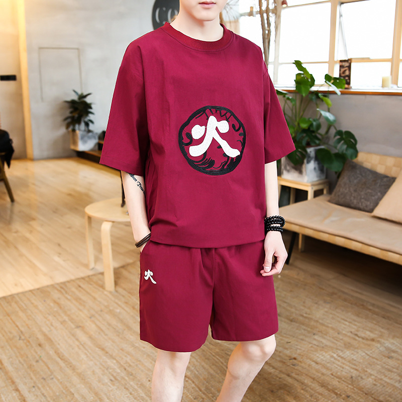 2018 Chinese-style Flax Set Five Elements Embroidered Cotton Linen T-shirt Short Sleeve Loose-Fit Sports Shorts Plus-sized Men'S