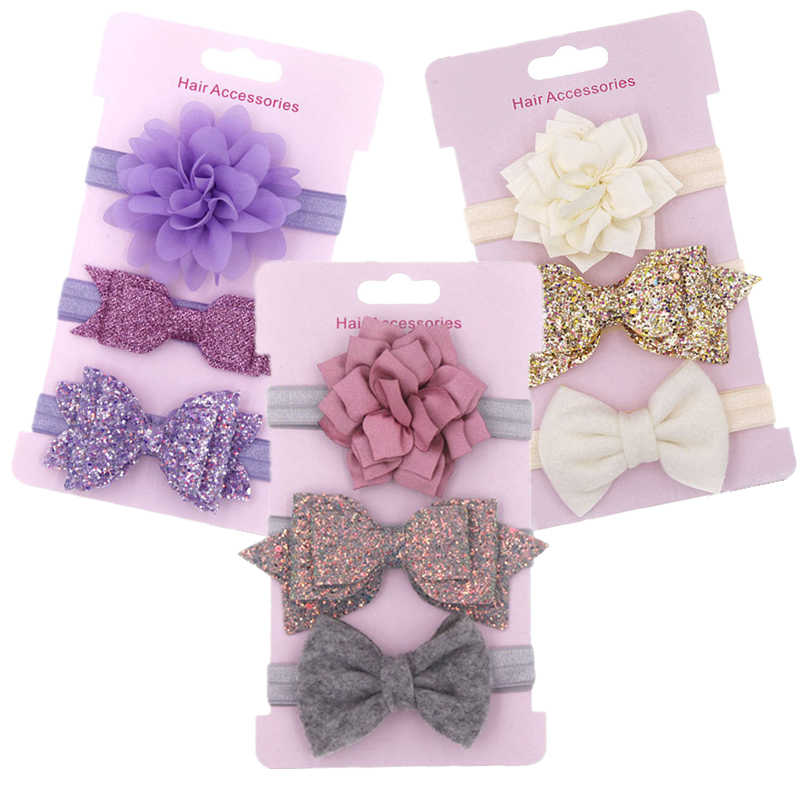 3pcs/set Elastic Flower Headbands for Baby Girls Hair Accessories Baby Girls Bows Nylon Turban Skinny Stretchy Rubber Hair band