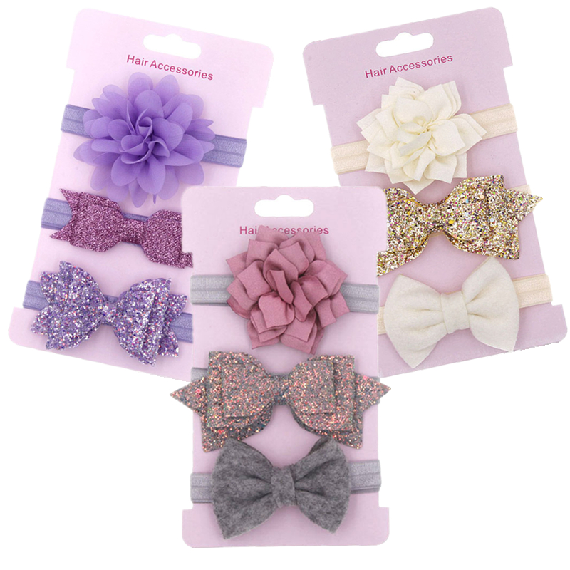 3pcs/set Elastic Flower Headbands for Baby Girls Hair Accessories Baby Girls Bows Nylon Turban Skinny Stretchy Rubber Hair band(China)
