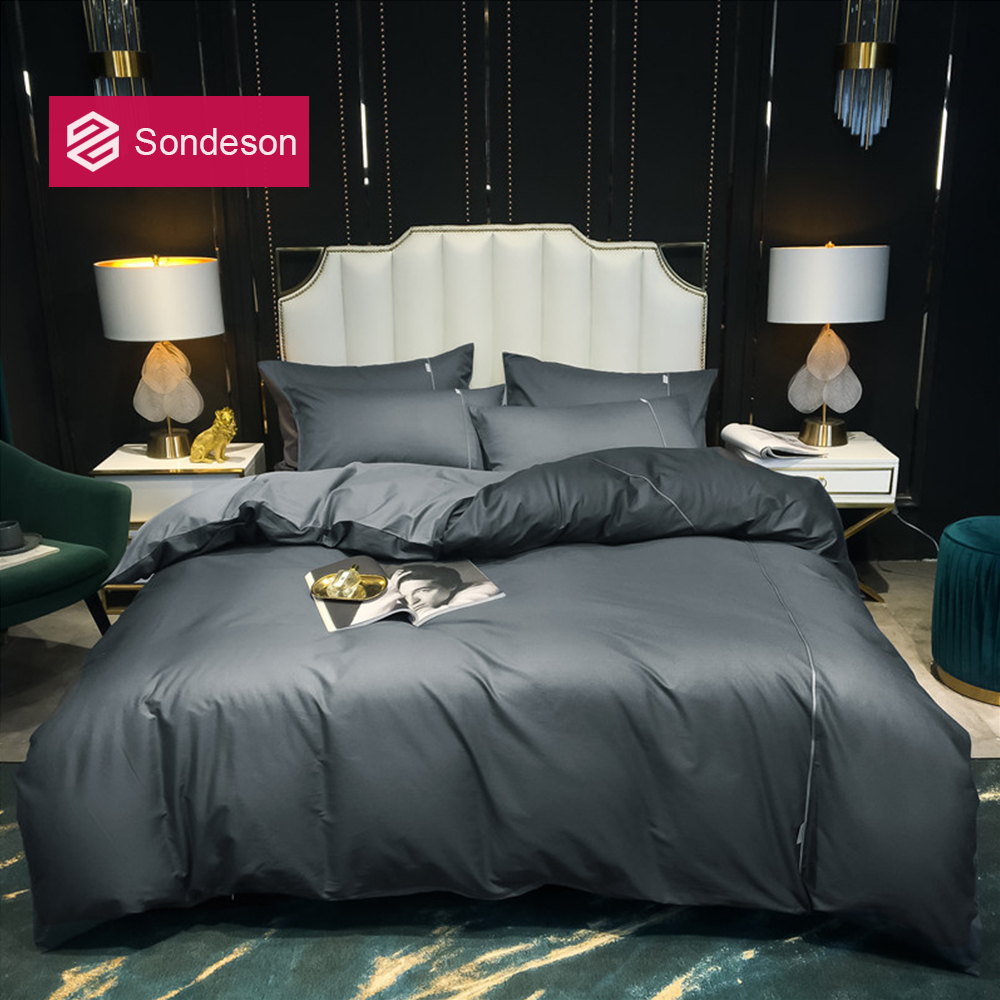 Sondeson Luxury 100% Cotton Gray Solid Color Bedding Set Printed Duvet Cover Pillowcase Flat Sheet Bed Linen For Home Bed Set