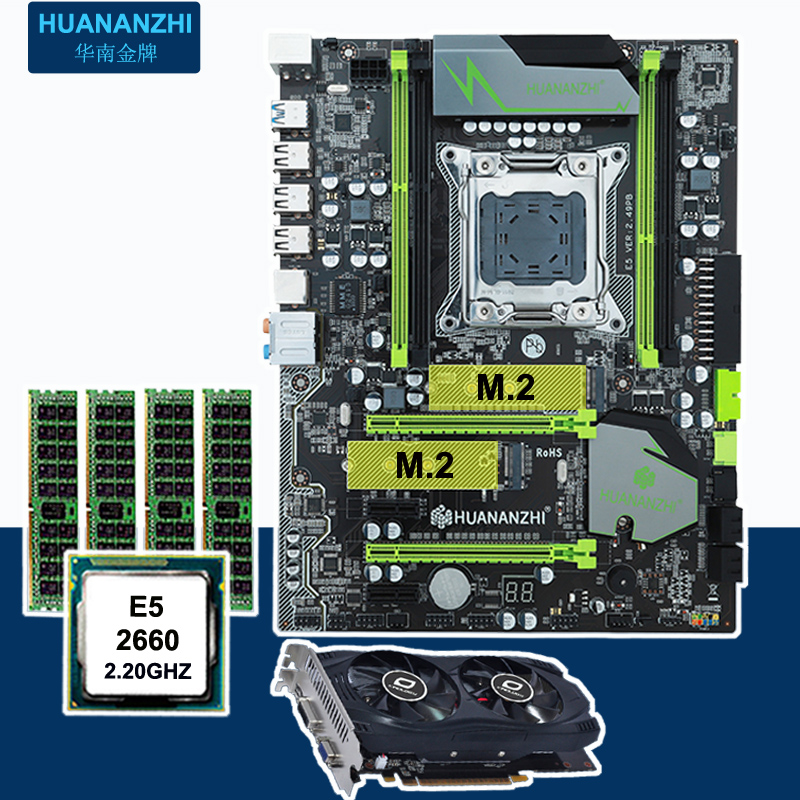 Construire parfait PC HUANAN X79 carte mère CPU RAM carte vidéo GTX750Ti 2G DDR5 Xeon E5 2660 SROKK RAM 16G DDR3 RECC tous testés