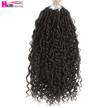 цена на 14-18inch Goddess Locs Crochet Braids Natural Synthetic Hair Extension For Women Locs New Stytle 24Stands/Pack Hair Expo City